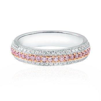 Fancy Pink and White Pave Diamond Milgrain Wedding Band