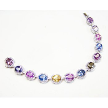 Pink Peach Blue Oval Multicolored Sapphire & Diamond Bracelet