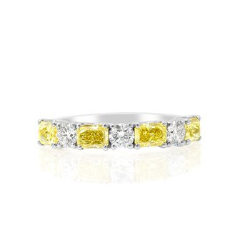Fancy Intense Yellow Radiant & White Round Diamond Wedding Band Ring