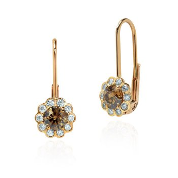 Fancy Brown Champagne Diamond Floral Drop Halo Earrings