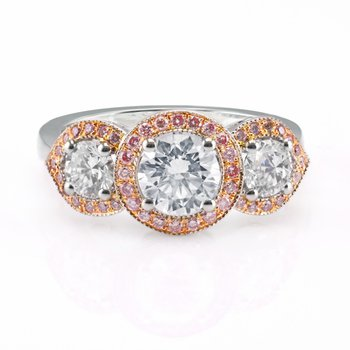 White and Fancy Pink Diamond 3 Stone Halo Ring