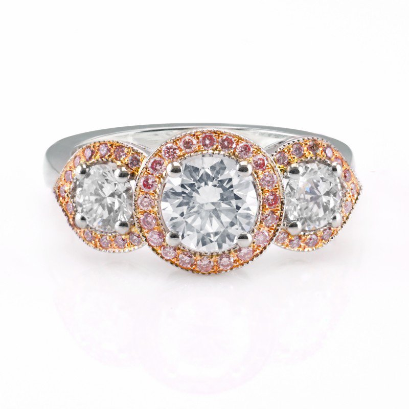 Jordan Widdes Creations White and Fancy Pink Diamond 3 Stone Halo Ring