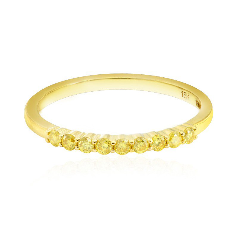 Fancy Intense Yellow Diamond 9 Stone Stacking Band Ring