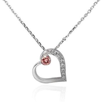 Pink and White Diamond Heart Pendant