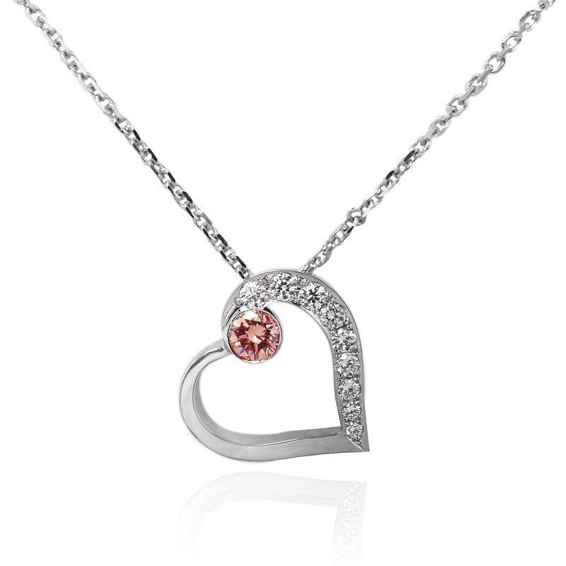 Jordan Widdes Creations Pink and White Diamond Heart Pendant