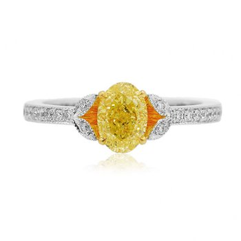 Fancy Intense Yellow Oval & Pave Diamond Ring