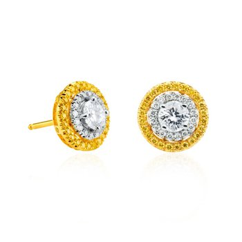 White and Fancy Intense Yellow Halo Earrings