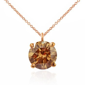 Rose Gold Fancy Brown Champagne Round Diamond Solitaire Pendant