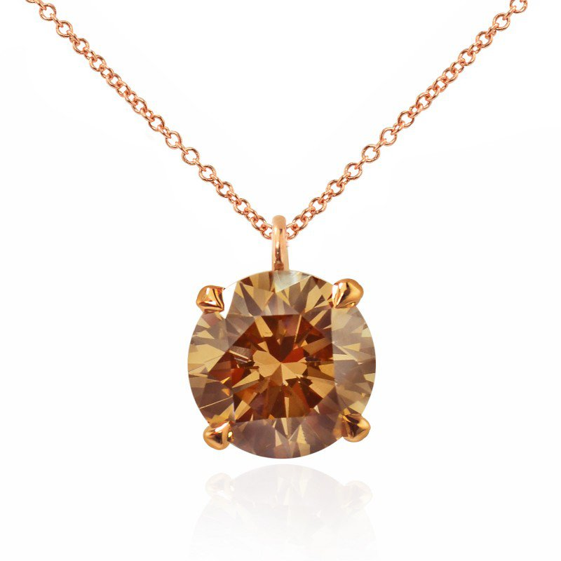 Jordan Widdes Creations Rose Gold Fancy Brown Champagne Round Diamond Solitaire Pendant
