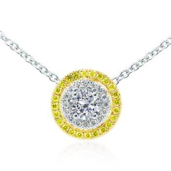 Round White and Fancy Intense Yellow Diamond Double Halo Pendant