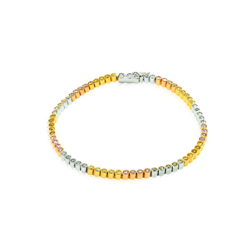Jordan Widdes Creations 70 Stone 2.09ct Multicolored Diamond Mix Tennis Bracelet set in 18K Gold