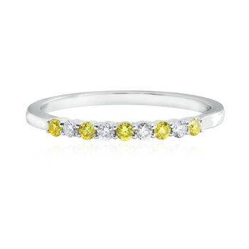 Fancy Intense Yellow and White Diamond 9 Stone Stacking Band Ring
