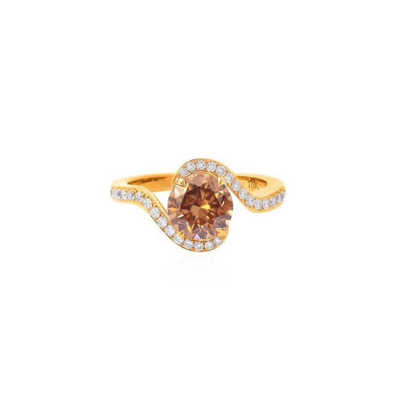Jordan Widdes Creations Fancy Orange Brown Round Diamond Pave Cross-Over Ring