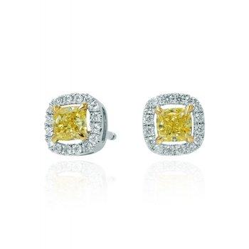 Fancy Intense Yellow Diamond Halo Earrings