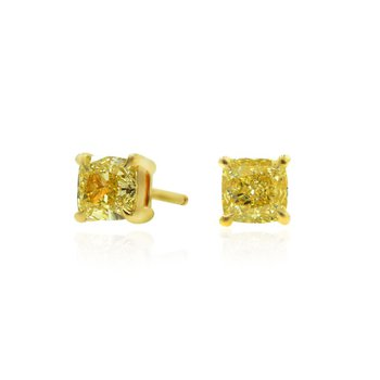 Fancy Intense Yellow Cushion Diamond Stud Earrings