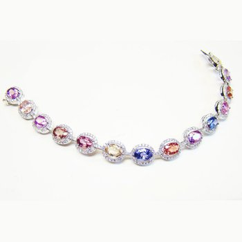 Oval Sapphire & Diamond Multicolored Bracelet 16.02ct set in 18K Gold
