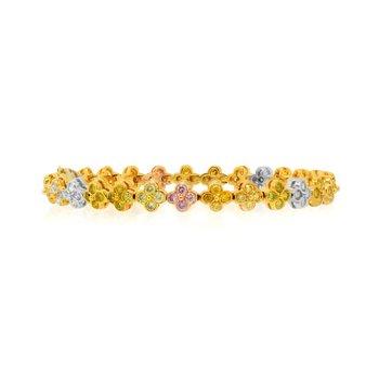 Multicolor Diamond Bracelet set in 18K 3 Color Gold