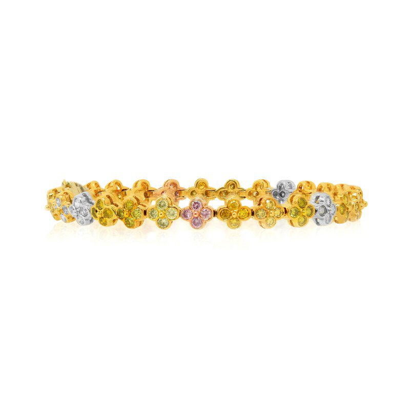 Jordan Widdes Creations Multicolor Diamond Bracelet set in 18K 3 Color Gold