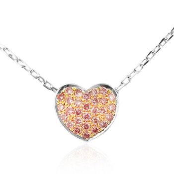 Pink Diamond Pave Heart Pendant