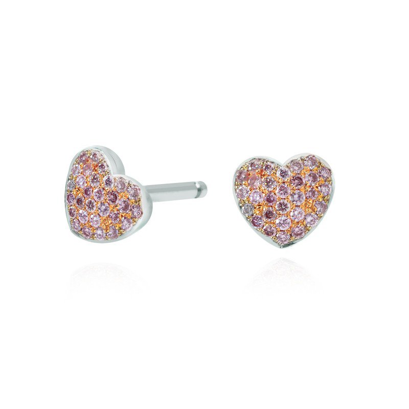 Jordan Widdes Creations Pink Diamond Pave Heart Earrings