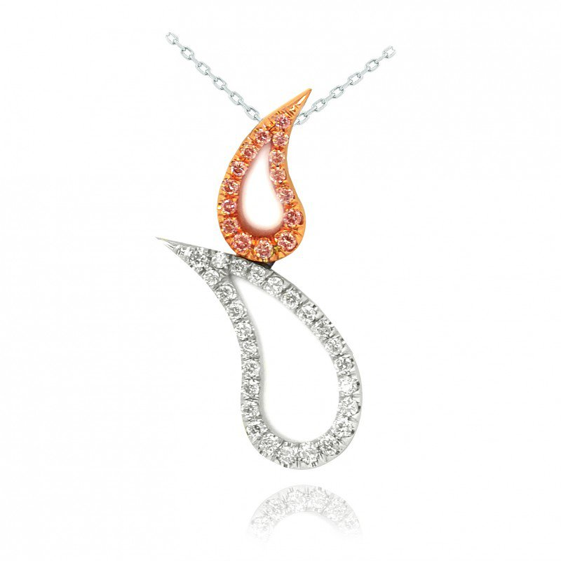 Fancy Pink & Collection Color Round Brilliant Pave Set Tear Pendant