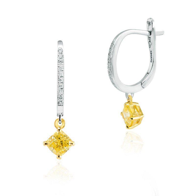 Jordan Widdes Creations Fancy Intense Yellow Cushion Diamond Drop Earrings