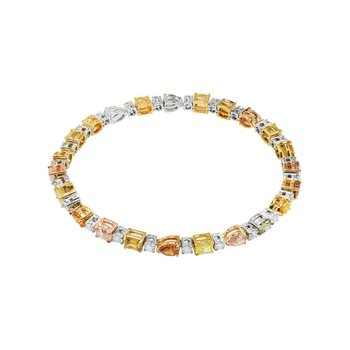 Fancy Intense Yellow and Brownish Orange Pink Diamond Bracelet