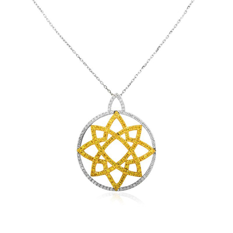 Jordan Widdes Creations Vivid Yellow and Collection Color Pave Pendant