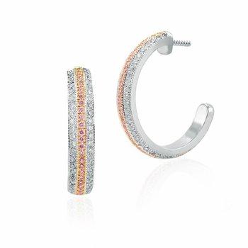 Fancy Pink Diamond Pave Hoop Earrings