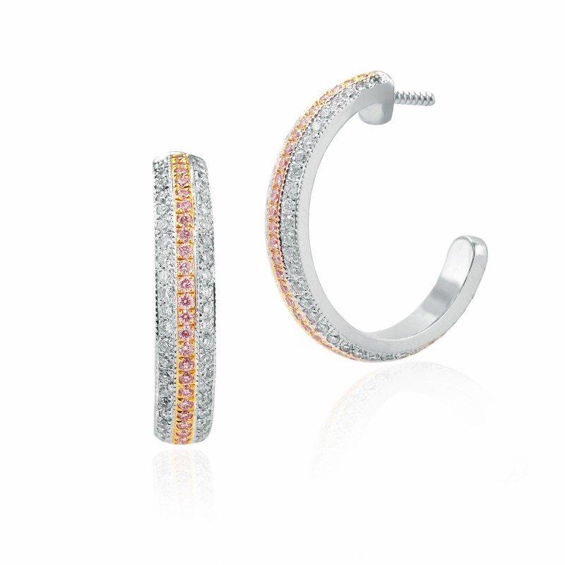Jordan Widdes Creations Fancy Pink Diamond Pave Hoop Earrings