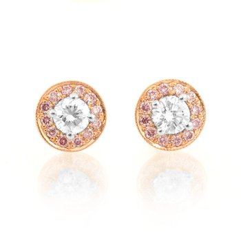 White and Pink Diamond Halo Earstuds