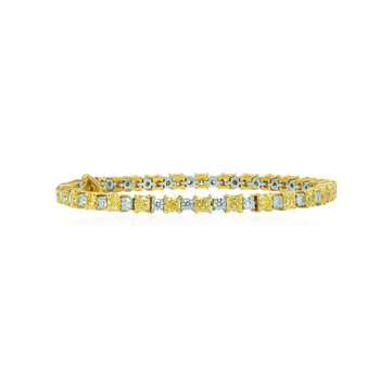 Fancy Yellow Radiant and White Diamond Bracelet