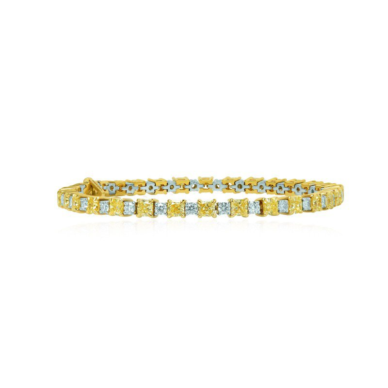 Fancy Yellow Radiant and White Diamond Bracelet
