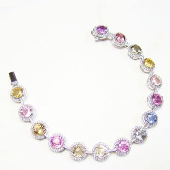 Multicolored Round Sapphire and Diamond Bracelet set in 18K gold