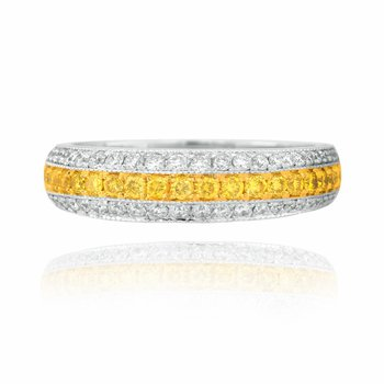 Fancy Intense Yellow and White Diamond & 18K gold Pave Band Ring