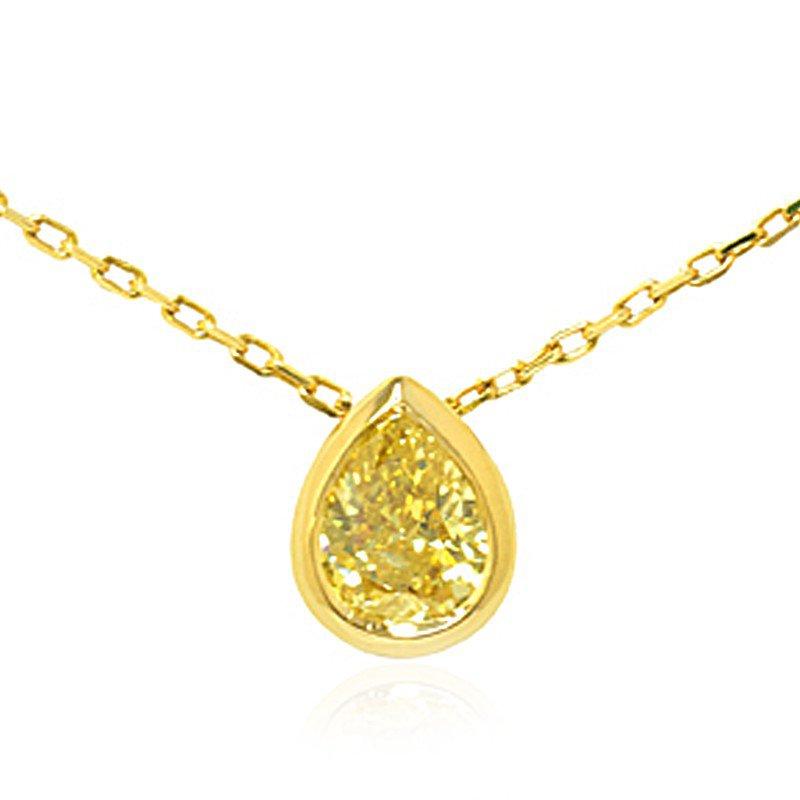 Jordan Widdes Creations Fancy Intense Yellow Pear Shape Diamond Pendant