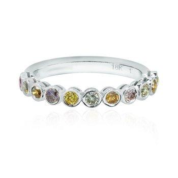Multicolor Diamond Bezel Band Ring