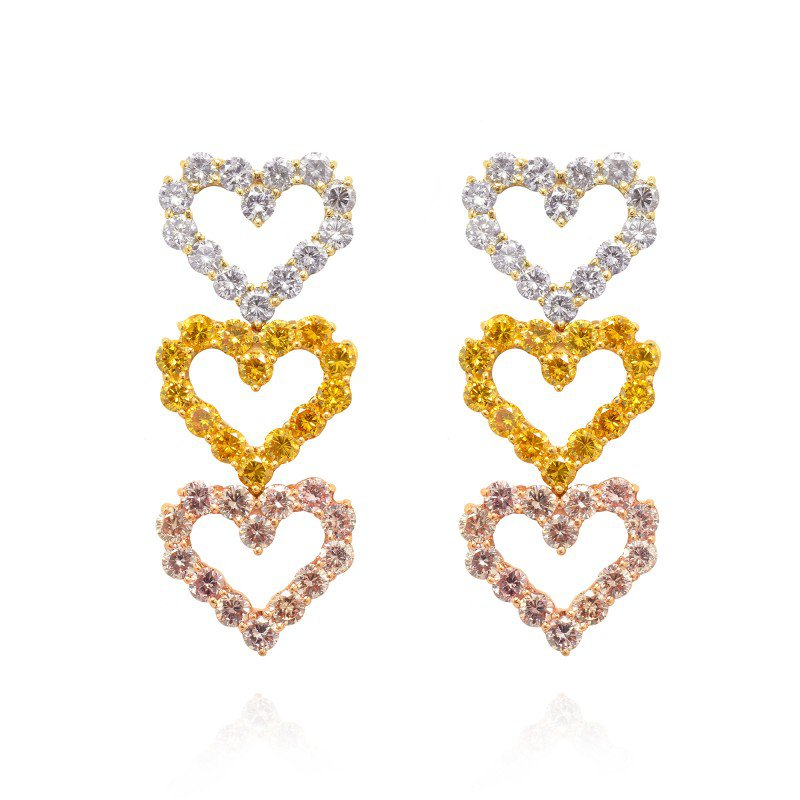 Jordan Widdes Creations Pink, Canary and Fancy Grey Heart Shaped Fancy Colored Diamond Earrings, set in 18K White, Yellow and Rose Gold