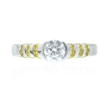 White Round Solitaire Diamond Ring with Yellow Pave