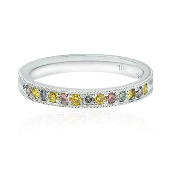 Milgrain Multicolored Diamond Stackable Milgrain Band Ring