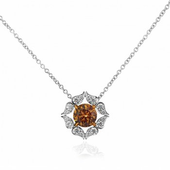 Fancy Brown Round Diamond Floral Pendant