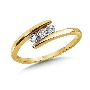 10K Two Tone Diamond Three Stone Ring w/ 0.06 ctw Size 7