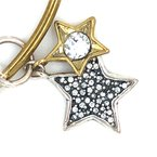 Waxing Poetic Sterling Silver and Brass Binary Stars Charm Couplet