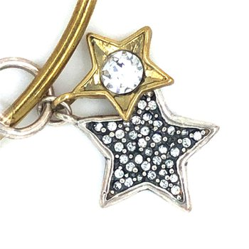 Sterling Silver and Brass Binary Stars Charm Couplet