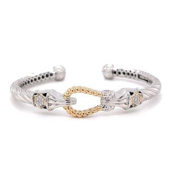 Italian Sterling Silver Bracelet w/ 14KY Accents & 0.30 ctw