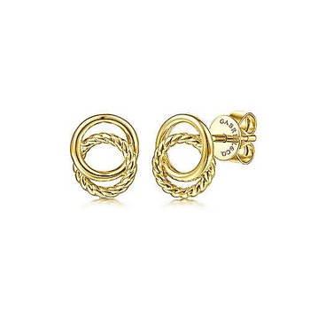 14KY Twisted Rope Double Circle Stud Earrings