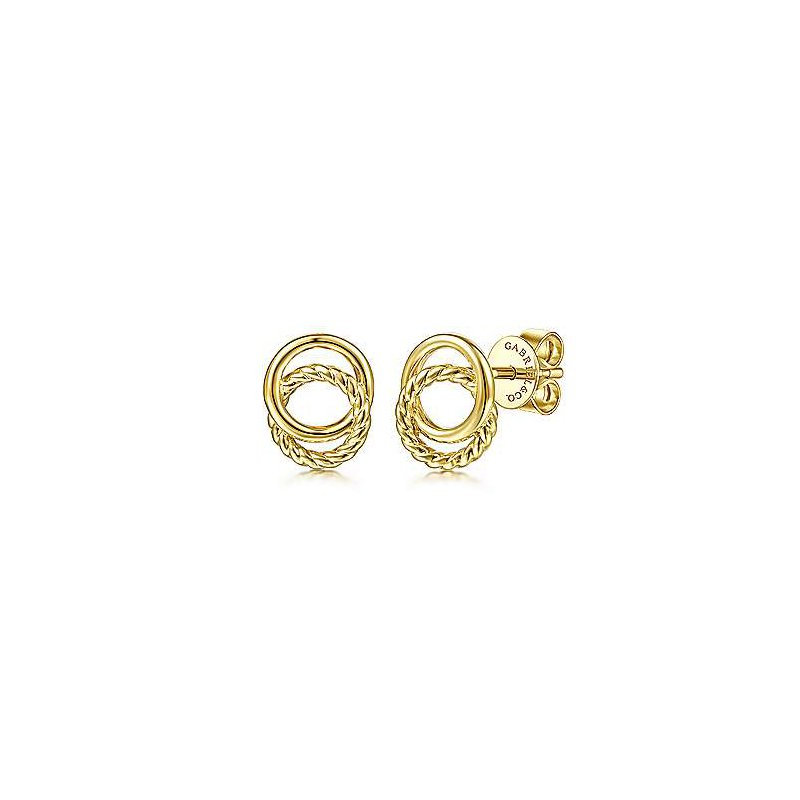 Gabriel & Co. 14KY Twisted Rope Double Circle Stud Earrings