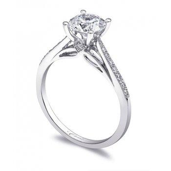 14KW Diamond Engagement Semi-Mountn Ring w/ 0.11 ctw, Size 6.5