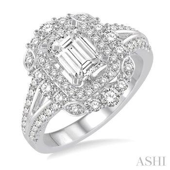 14K white gold Diamond Double Halo Engagement Ring Semi Mount w/ 0.90 ctw, Size 6.5