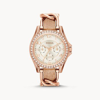 Stainless Steel Rose Tone Watch w/ Crystals and Leather Straps